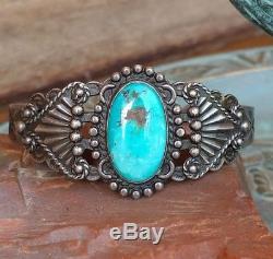 Fred Harvey Era Blue Gem Pièce De Turquoise Silver Arrow Stamped Cuff Bracelet