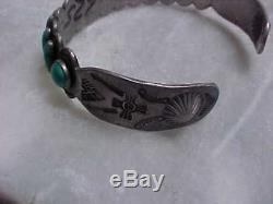 Fred Harvey Era - Bracelet À Manchette En Turquoise Et Argent, Symboles Du Soleil - Superbe