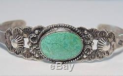 Fred Harvey Era Bracelet Manchette Turquoise Verte En Argent Sterling Avec Amérindien