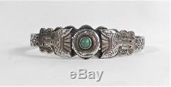 Fred Harvey Era Navajo Argent Sterling Turquoise Vert Bracelet Symboles