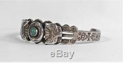 Fred Harvey Era Navajo - Bracelet En Argent Sterling À Motif Turquoise Vert