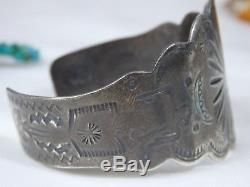Fred Harvey Era Navajo Estampillé Sterling Silver Thunderbird Sunrays Manchette Bracelet