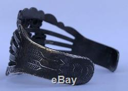 Fred Harvey Era Navajo Flèche Timbre En Argent Sterling Concho Balle Manchette Bracelet