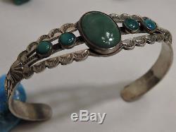 Fred Harvey Era Navajo Naturel Nevada Turquoise Estampillé Bracelet Argenté Sterling