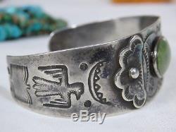 Fred Harvey Era Navajo Nevada Turquoise Pièce Argent 90% Ag Thunderbird Bracelet
