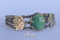 Fred Harvey Era Navajo Thunderbird Turquoise Vert En Argent Sterling Manchette Bracelet