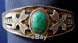 Fred Harvey Era Sterling Argent Estampillé Turquoise Cab Bracelet Vintage Fait Main