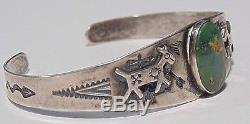 Fred Harvey Era Turquoise Dogs Bracelet En Manchette En Argent Sterling 925 Amérindien