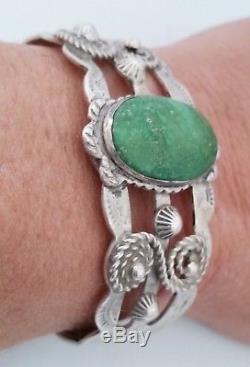 Fred Harvey Era Turquoise Vert Argent Sterling Bracelet Bracelet Thunderbird & Corde
