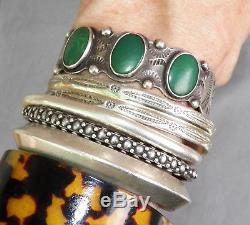 Fred Harvey Era Vintage Bracelet En Manchette Côtelée En Argent Sterling