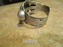Grand Vieux Fred Harvey Époque Bracelet Navajo Grand Rangée En Argent Sterling