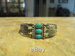Grand Vieux Fred Harvey Era Navajo En Argent Sterling Turquoise Bracelet Thunderbird