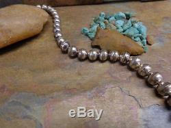 Long Collier De Perles De Banc Fait Main Argent Navajo Indigène Vieux Pion Fred Harvey Era