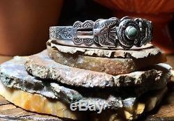 Manchette Serpent Et Tonnerre Thunderbird Vintage Fred Harvey Navajo En Turquoise Et Argent
