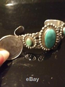 Manchette Vintage Ancien Pion Turquoise & Argent Massif Fred Harvey Époque Signée P