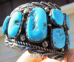 Marqué Vintage Vieux Pion Navajo Argent Turquoise Manchette Bracelet Fred Harvey Era
