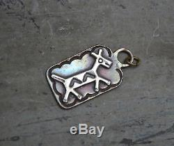 Navajo Vtg Vieux Pion Trading Post Fred Harvey Chien Tag Cuivre Argent Horse Fob