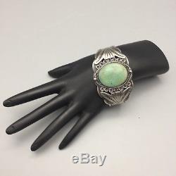 Nice, Vintage, Old Turquoise, Bracelet Manchette En Argent Sterling Fred Harvey Era