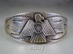 Old Fred Harvey Bracelet En Thunderbird Argent Massif Stéré À La Main