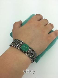 Old Fred Harvey Navajo Bracelet En Argent Sterling Turquoise
