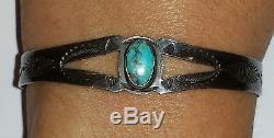 Old Manjon Navajo Fred Harvey Bracelet Manchette Era Bisbee Turquoise Et Argent Sterling