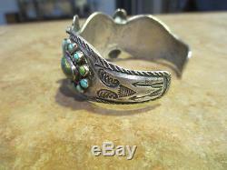 Rare Début De 1900 Fred Harvey Native Silver Premium Turquoise Cluster Bracelet