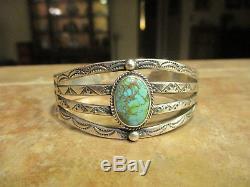 Rare Début Fred Harvey Era Navajo 900 Pièce Argent Spiderweb Turquoise Bracelet