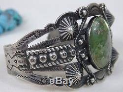 Rare Fred Harvey Époque Navajo Argentarrow Bracelet Piece Turquoise Cerrillos Argent