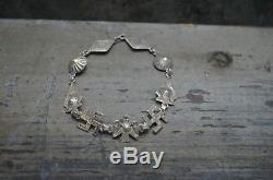 Rare Navajo Vtg Vieux Journal Tourbonnonnant Thunderbird Bracelet Fred Harvey Argent