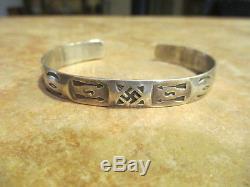 Rare Vieux Fred Harvey Era Navajo Argent Bracelet Bracelet Manchette Whirling