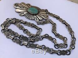Rare Vieux Fred Harvey Era Navajo Collier Arrow Sterling Argent Turquoise