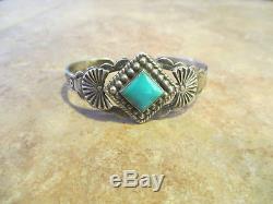 Rare Vieux Fred Harvey Era Navajo En Argent Sterling Premium Turquoise Bracelet