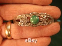 Rare Vtg Fred Harvey Era Bracelet Manchette En Argent Sterling Avec Turquoise + T-oiseaux