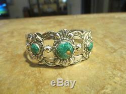 Splendid Old Fred Harvey Era Navajo Bracelet En Argent Sterling Premium Turquoise