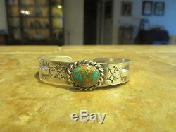 Superbe Vieux Fred Harvey Epoque Navajo 900 Bracelet Argent Premium Turquoise Bracelet