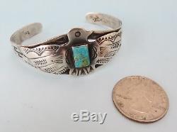 Très Bon Thunderbird Fred Harvey Vtg Bracelet Manchette En Argent Sterling