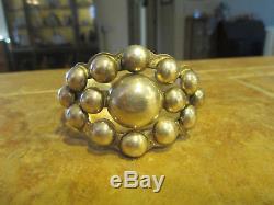 Tres Echarpe Fred Harvey Era Navajo Bracelet En Argent Sterling Dome Cluster