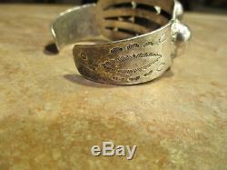 Très Épaisseur Fred Harvey Era Navajo Silver Dome Design Bracelet Des Années 1940