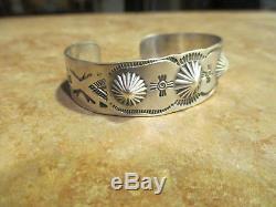 Très Fin Bracelet Ancien Fred Harvey Era Navajo En Argent Sterling Poinçonné