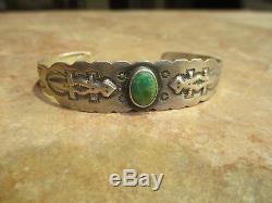 Très Vieux Fred Harvey Era Navajo 900 Pièce Argent Turquoise Lézard Bracelet