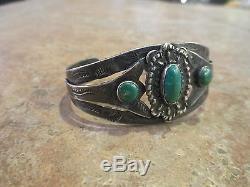 Très Vieux Fred Harvey Era Navajo Bracelet En Argent Sterling Turquoise Design