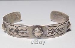 Vieil Pion Fred Harvey Era Native American Navajo Sterling Silver Cuff Work Cuff