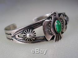 Vieille Main Fait Fred Harvey Époque Bracelet Thunderbird Argent Sterling & Turquoise