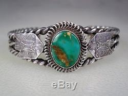 Vieille Main Fait Fred Harvey Époque Bracelet Thunderbird En Argent Sterling Et Turquoise
