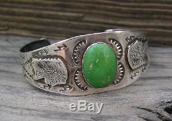 Vieux Fred Harvey Era Argent Vert Turquoise Indien Chef Serpent Bracelet