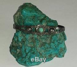Vieux Pawn Navajofred Harvey Era Turquoise & Bracelet En Argent Sterling Manchettesigned
