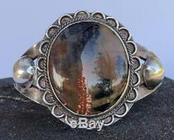 Vieux Pion Fred Harvey Era Petrified Bois Et Argent Sterling Large Bracelet Manchette