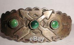 Vintage Bracelet En Argent Sterling Turquoise Vieux Pion Cheval Sauvage De L'ère Fred Harvey