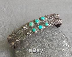 Vintage Fred Harvey Era Argent 2 Rangs Serpent Vert Turquoise Manchette Bracelet