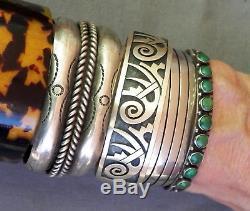 Vintage Fred Harvey Era Argent Vert Serpent Oeil Turquoise Row Bracelet Manchette